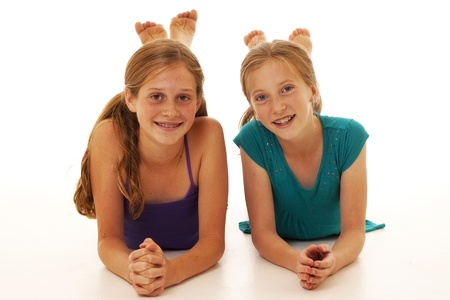 pretty tweens pose for a best friend photo Stock Photo