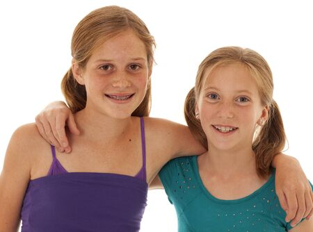 tween girl: Pretty girls with braces and retainer