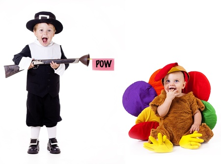 pilgrim costume: Adorable pilgrim child hunting adorable turkey child