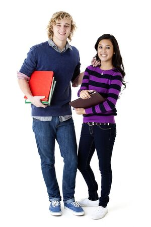 teen couple holding school books