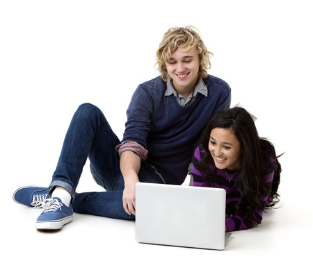 attractive college students on laptop photo