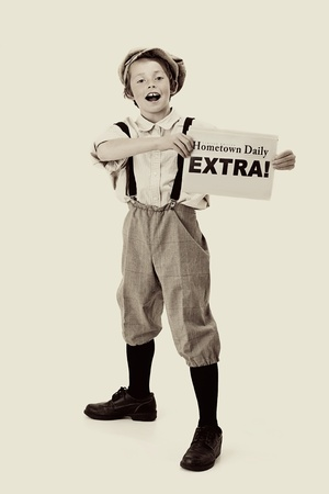vintage paper: Extra, Extra  vintage newsboy Stock Photo