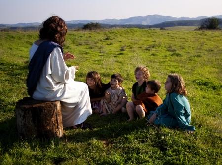 Les enfants l'enseignement de Jésus Banque d'images