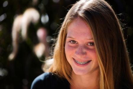 braces: Happy teen girl with braces