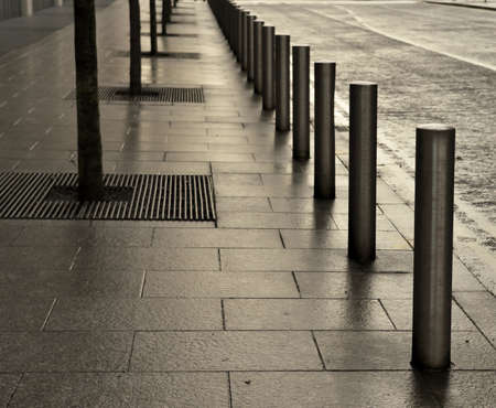 A line of metallic posts set in grey flags near young trees, evenly-spaced at the edge of the pavement, running into the distance in a modern landscaped street