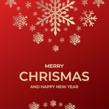Frohe Weihnachten und ein glückliches neues Jahr-Vorlage. Grußkarteneinladung mit Schneeflocken Vektorgrafik