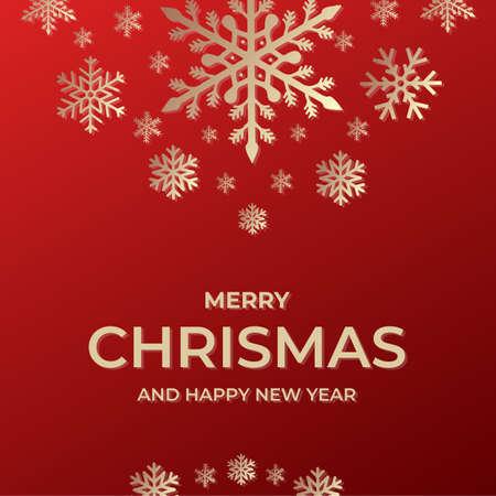 Modèle de joyeux Noël et bonne année. Invitation de carte de voeux avec des flocons de neige Vecteurs