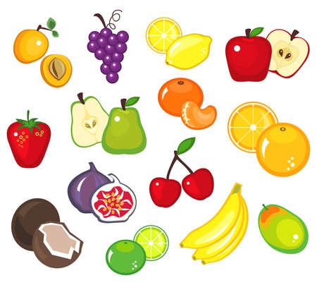 mangoes: Illustration of various fruits - part 1 Illustration