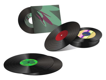 Illustration of a record collection Vector
