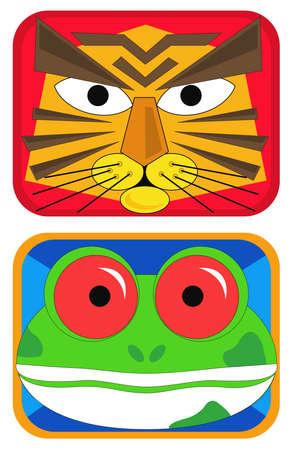 Tiger and frog masks Vector