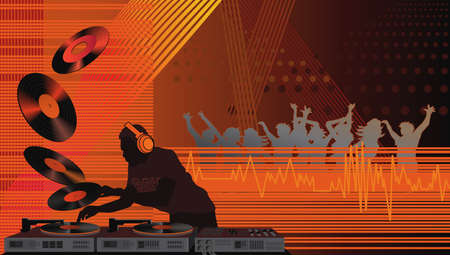 Night club with the dj playing records and people dancing under spot lights Vector