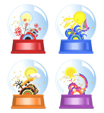 Water globes of four seasons Vector