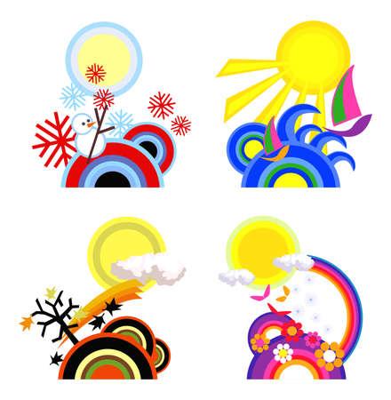 spring tide: Illustration of four seasons