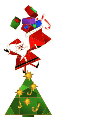Santa Claus standing on christmas tree holding his bag full of gifts Vector