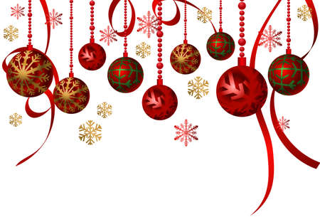 Christmas Background with hanging ornaments