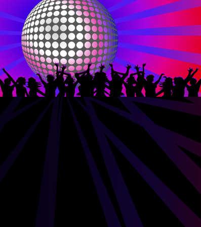 Club de baile con la gente bailando en virtud de brillante bola de discoteca Ilustración de vector