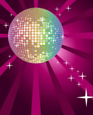 anni settanta: Astratto sfondo luminoso discoteca palla Vettoriali