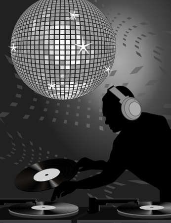 70s disco: Gray toned illustration of dj and disco ball Illustration