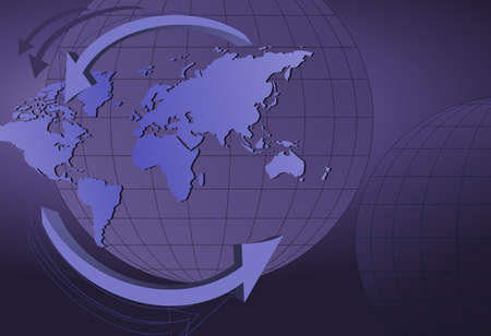 Abstract background with globes and world map