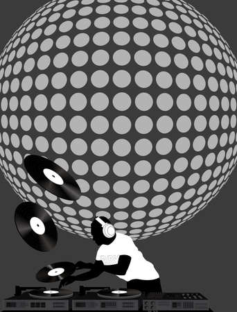 dj turntable: Gray toned illustration of dj and disco ball Illustration