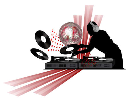 dj turntable: Clipart with dj, turntable and shining disco ball