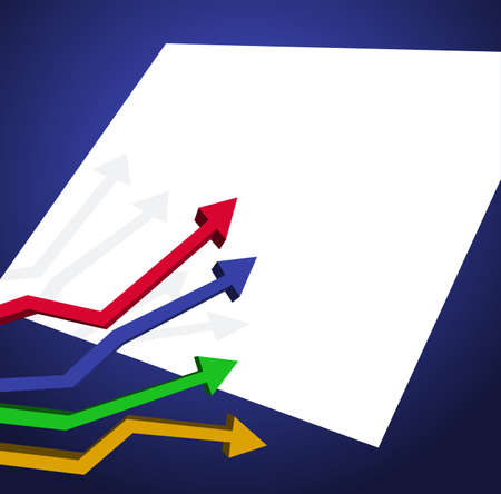Presentation background with arrow chart and blank paper for text Vector