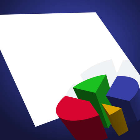 future earnings: Presentation background with pie chart and blank paper for text