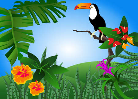 Illustration of a tropical scene with flowers and a toucan Illustration