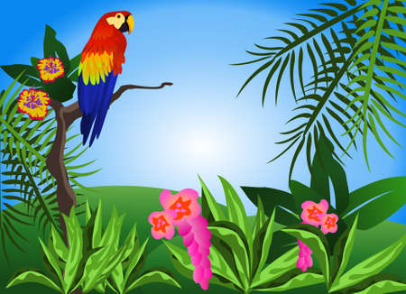 Illustration of a tropical scene with flowers and a parrot