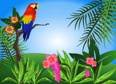 Ilustración de un escenario tropical con flores y un loro