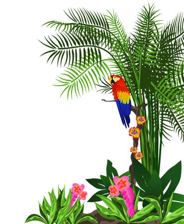 Background illustration of a tropical forest with flowers and a parrot