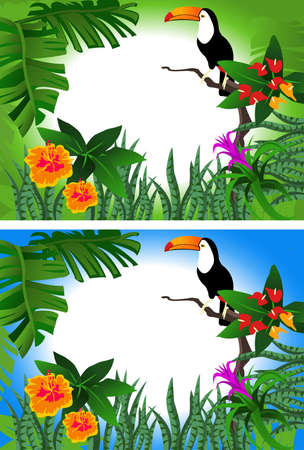 Background illustrations of tropical forest with alternative colors
