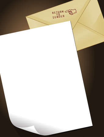 Background with an envelope and a blank paper Vector