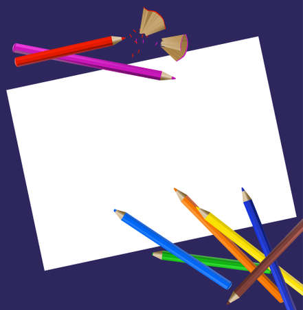 classroom supplies: Background with color pencils, pencil shavings and a blank paper
