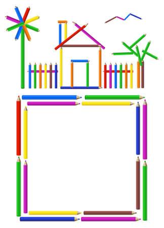 classroom supplies: Foto de una casa, jard�n y una estructura de l�pices de colores