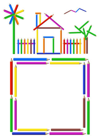 Picture of a house, garden and a frame made of color pencils Vector