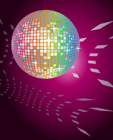 70s disco: Abstract background with a shining disco ball Illustration