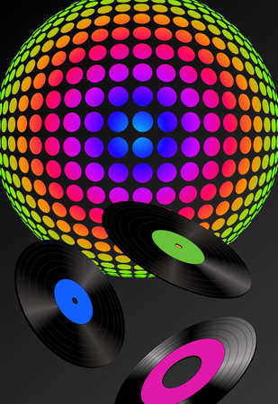 eighties: Abstract disco ball and records with different colored labels