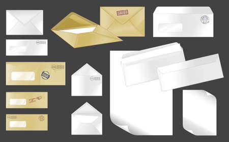 Collection of stamped envelopes with letters Vector