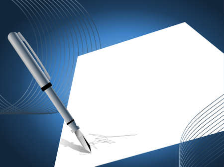 signing: Abstract background with a pen signing on paper Illustration