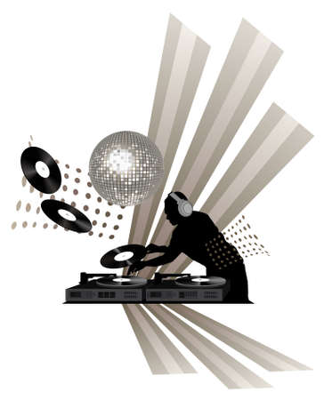 Clip-art with dj, records, turntable and shining disco ball Vector