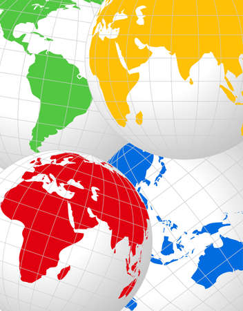 parallel world: Abstract background with World Globes Illustration