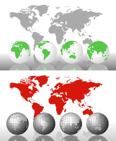 east asia: World globes and world map with alternative colors Illustration