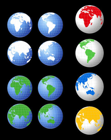 World globe illustrations in various colors Vector