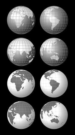 parallel world: Vector illustrations of world globe icons
