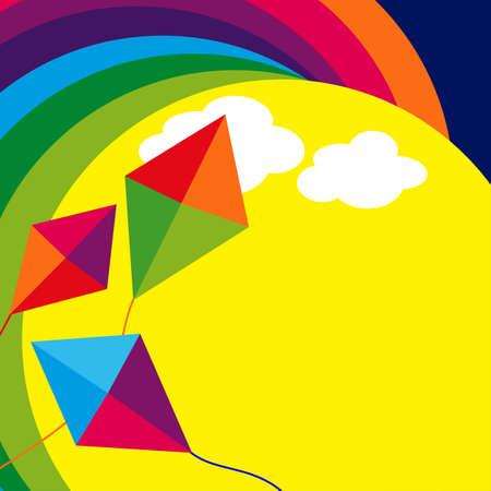 凧: 凧と虹の抽象的なイラスト