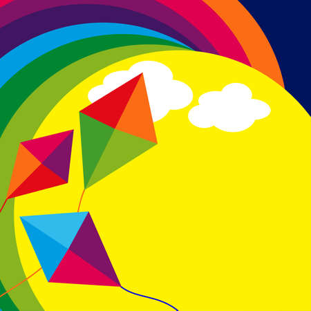 rainbow clouds: Abstract illustration of kites and rainbow