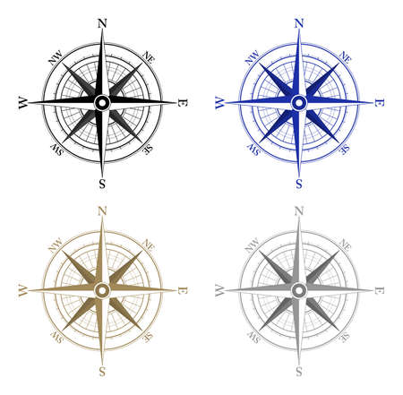vector clipart: Compass Icons on white background