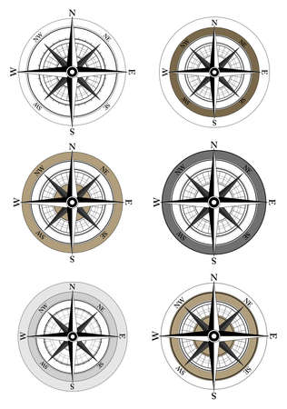 Compass Icons on white background
