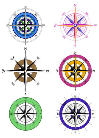 compass rose: Compass Icons on white background